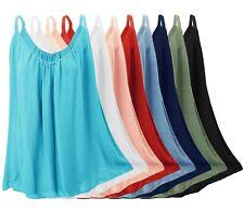Damen Tops luftig leicht und blickdicht Viskose Hängerchen Sommer Träger-Shirt