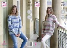 King Cole Aran Pattern 5267 Sweaters 32 - 50 Ins Easy Knit