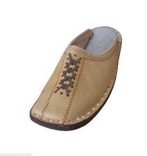 Men Slippers Handmade Leather Flip-Flops Camel Clogs New Mojari US 9