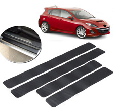 4pc Sedan Exterior Scratch Threshold 3D Black Carbon Fiber Texture Sticker Decal