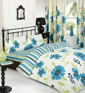 Kenzie Teal Soft Duvet Cover Set With Pillowcase Single Size