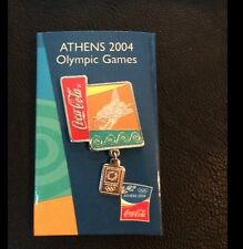Olympic Pin Badge~Sponsor~Coca Cola~Athens 2004~Dangle~NEW on Card
