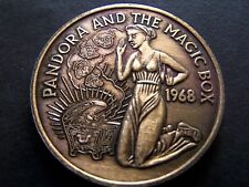 1968 PANDORA+THE MAGIC BOX Oxidized Copper HR Mardi Gras Doubloon-1st Year Issue
