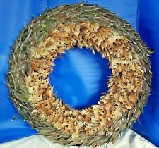 CHRISTMAS OR ANYTIME:  Fancy REAL FEATHER WREATH Greens, Browns ELABORATE!  NEW!