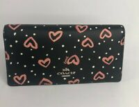 Coach Black Pink Bifold ID card Slim Wallet with Crayon Hearts Print