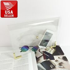 Beautiful Transparent PVC Stylish Purse Clear Handbag Bag Clutch Gold Edges Chic