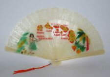 Vintage 1950s Lucite Hawaii Commemorative Hand Fan Hand Painted Tassel