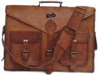 Men Distressed Leather Vintage Brown Messenger Shoulder Laptop Bag Briefcase