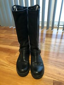 Frye Veronica Black Leather Mid Double Buckle Slouch Riding Boots Women's 8