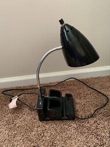 Room Essentials Desk Lamp - Black - USB Port and 2 Prong Outlet