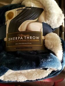 LIFE COMFORT ULTIMATE SHERPA THROW  GRAY 60X70in.  THICK LUXURY PLUSH BLUE