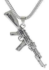 "AK-47 Miniature Replica Pendant 22"" 3mm Stainless Steel Foxtail Chain D-16"
