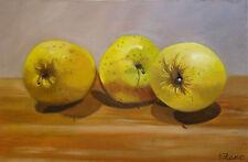 Trois pommes, nature morte, Peinture à l'huile originale Anne Zamo