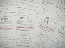 I SPY Wedding Camera Cards - photo requests - Quality Table Card - Personalised