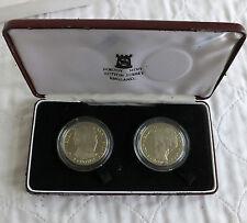 Isla De Man 1991 Charles & DIANA Diamante finalizar prueba 2 corona Conjunto en caja