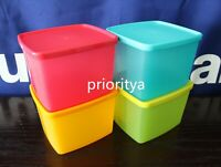 Tupperware Freezer Square Rounds 800ml Container Set of 4 Vibrant Color Rare New