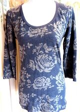Erge Designs Womens Large Top Gray Floral Print Stretch Scoop Neck L/S Pullover