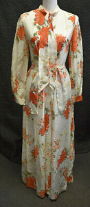 Vintage Lord&Taylor White Floral Long Sleeve Dress