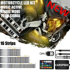 16Pcs 3 in 1 Smart Led Neon Under Glow Lights Strip Kit For All Motorcycles 12V