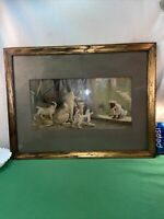 Vtg 1930-40's Lithograph Fox Terrier Hound Mischievous Naughty Dog Print Framed