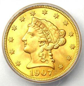 1907 Liberty Gold Quarter Eagle $2.50 Coin - Certified ICG MS67 - $2,250 Value!