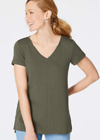 NEW J JILL 2X 3X Pima Slub-knit S/S V-neck Tee Textured Knit Top Olive Green