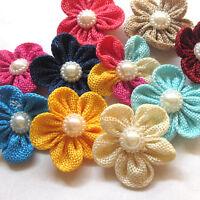 New 20pcs Ribbon Flowers Bows Rhinestone Appliques Wedding Decor Lots Mix