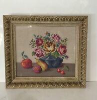 """Framed VTG Needlepoint 16""""x18"""" Still Life Fruit Flowers Blue Vase"""