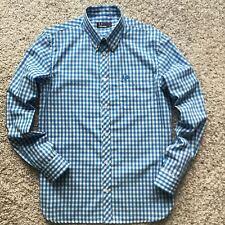 Fred Perry Men Polo Casual Shirt Long Sleeve Light Blue Checks Cotton Regular S