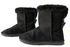 New listing Girls Sonoma Fuzzy Black Boots with Bows Size 3 New In Box