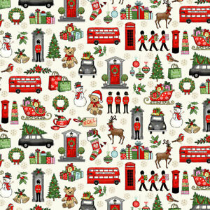 Makower London Christmas Icon Cotton Fabric fat quarter patchwork craft quilting
