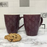 Set of 2 Gisela Graham Plum Stoneware Mugs Art Deco Retro Style 13cm Gift Coffee