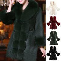 Women Faux Fur Coat Elegant Thick Warm Outerwear Long Fake Fur Jacket Overcoat A