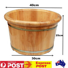 Luxury Cedar Wood Footbath Spa Massager Aromatherapy Foot Tub Barrel