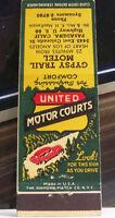 Rare Vintage Matchbook Cover R3 Pasadena California Gypsy Trail United Motor Car