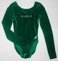 GK Elite XS Adult Gymnastics Leotard AXS Rhinestones Green Velour Sparkle