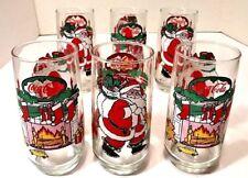 Set 6 Vtg McCrory Stores Santa Coca Cola Christmas Tumblers Fireplace 70s - 80s