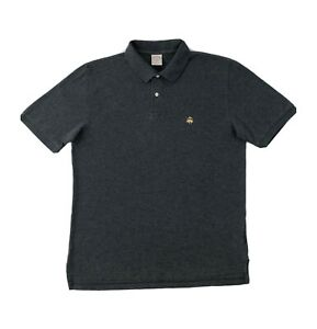Brooks Brothers Polo Shirt Men's Medium Grey Short Sleeve Golf Button Down
