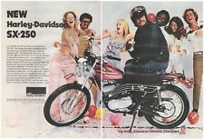 Original 1974 Harley-Davidson SX-250 Vintage Print Ad- 2 Pages Party Vibe