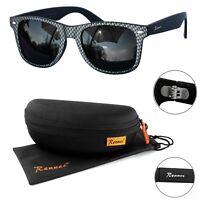 Rennec Herren Sonnenbrille Sport Nerd Retro Carbon Schwarz Grau 12CB BOX