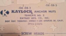 Kaylock Template No. 2 Anchor Nuts The Kaynar Co. Screw Heads