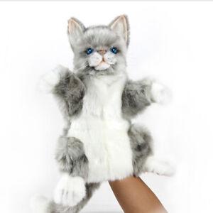 HANSA JACQUARD CAT HAND PUPPET REALISTIC CUTE SOFT ANIMAL PLUSH TOY 30cm **NEW**