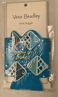 VERA BRADLEY NIP Go Fish Dot Neoprene Drink Hugger Blue White Drink Up Fishes
