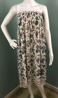NWT Womens Max Studio Strapless Floral Print Smocked Dress Sz L Large