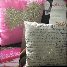 NWT Bright Pink Gold Palm Tree Lilly Pulitzer Two Sided Cotton Pillow 18 by 18
