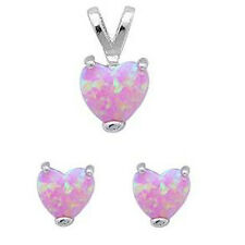 Pink Fire Opal Heart .925 Sterling Silver Earring & Pendant Set