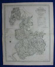 LANCASHIRE original antique county map, Reform Bill, Ebden, Duncan, 1838