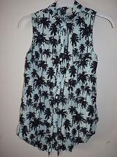 H&M Chemisier palmiers noirs 32/34 36 chemise vert