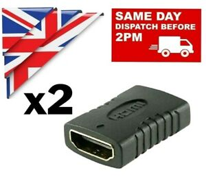 2x HDMI EXTENDER FEMALE TO FEMALE ADAPTER EXTENSION JOINER CONNECTOR HD 1080 4k