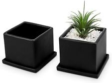 MyGift Set of 2 Matte Black Ceramic Square Planter Pots with Removable Saucers